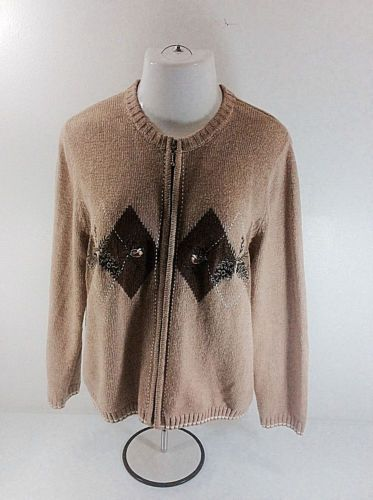 Croft-And-Barrow-Women-039-s-Zip-Up-Sweater-Tan-Fall-Birds-Nests-Petite-Size-PL