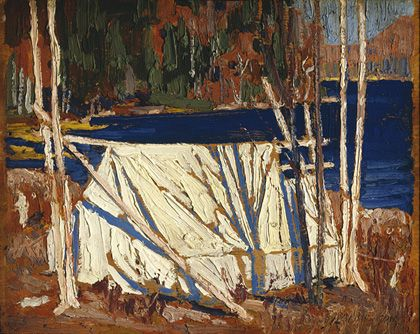 Tom Thomson (1877-1917) The Tent  1915 Oil on wood panel, 21.5 x 26.8 cm Purchase 1979 McMichael Canadian Art Collection 1979.18