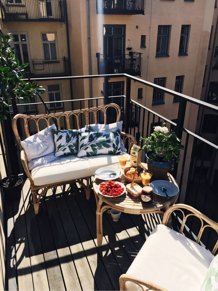 Casual balcony with bamboo seat, chair and side table