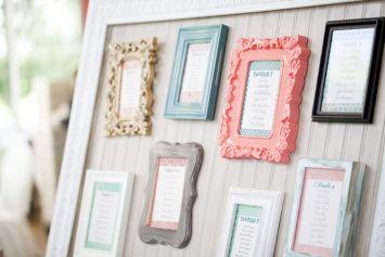 tableau de mariage con cornici colorate