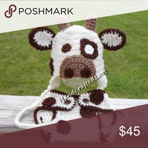 Crochet baby cow outfit animal photo prop set Brand new handmade baby cow crochet outfit photo prop set. Fits size newborn-3 months smoke free pet free,great for baby showers,pregnancy announcements,first photos,first Halloween costume,or baby gift. Handmade Costumes Halloween