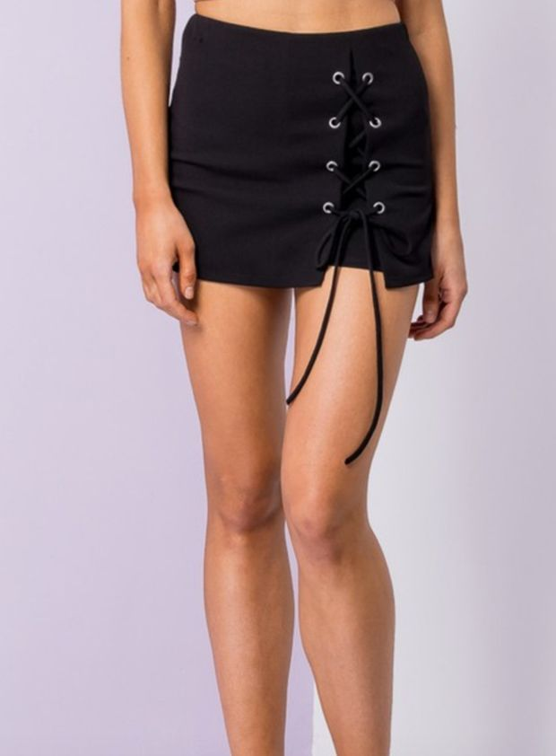 Black Lace up skort- Lace up skort - tie up skort - black skort - skort - mini skort - mini skirt - Tennis Skort - Going out skort