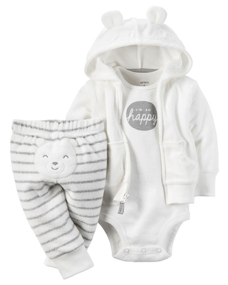 With a soft terry cardigan and little bear on the bottom, this babysoft set keeps your little cub cuddly all day.