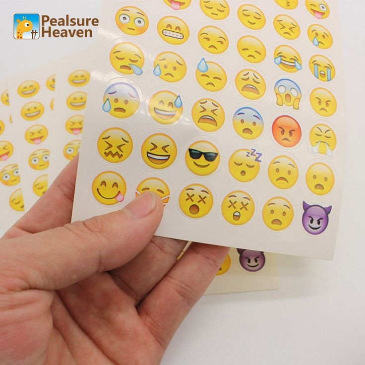 1Sheet Emoji Sticker Pack containing 48Emojis Die Cut Emoticons Characters Symbols Smiley Faces expression Wall Stickers