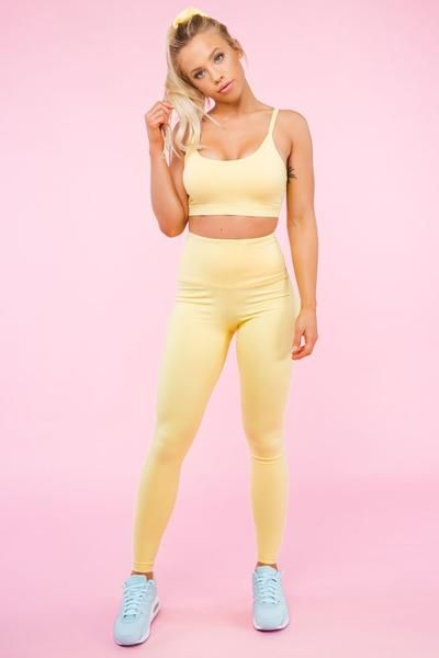 4d4ec5f6e990f Sherbet Yellow High Waist Leggings | fitness clothes | Yellow gym ...