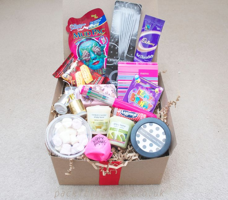 Happy birthday for her, awesome filler gift box, for a young girl, girlfriend, daughter, friend, mum, nan - pack it in gift box, filled boxed hampers, an unusual present idea. www.packitingifts.co.uk