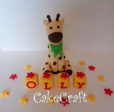 Giraffe Christening Birthday,name blocks Edible Handmade cake decorations topper 13.99