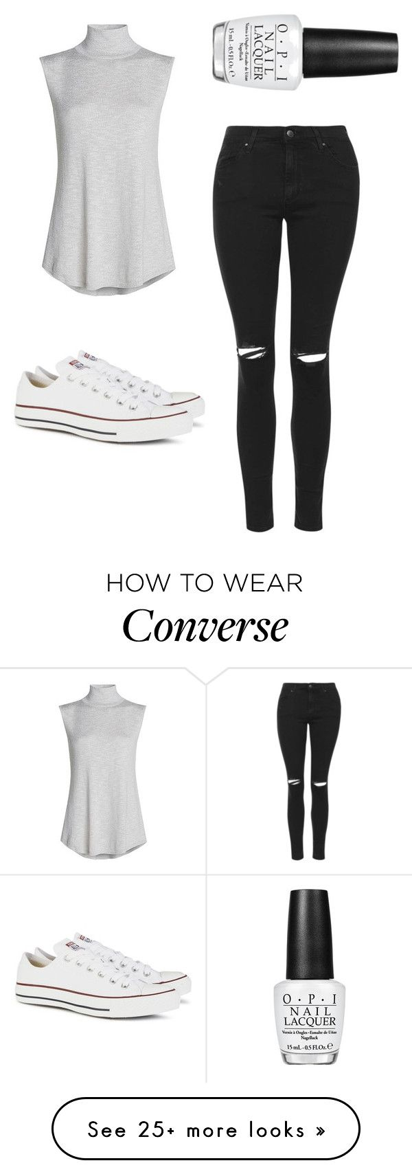 """""""converse"""" by burtonl on Polyvore featuring Topshop, NIC+ZOE, Converse and OPI"""