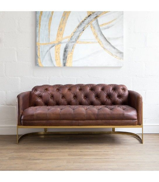 Charlie Leather Couch Tan In 2019 Huguenot 2 Chesterfield