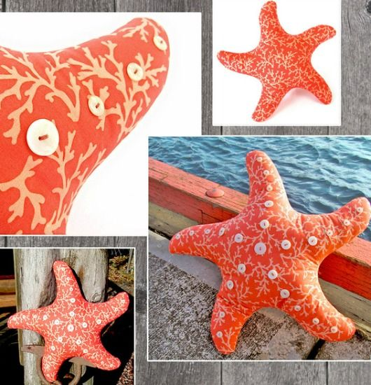 DIY Starfish Pillow... http://www.completely-coastal.com/2017/02/starfish-shaped-pillow-ideas-diy-shop.html