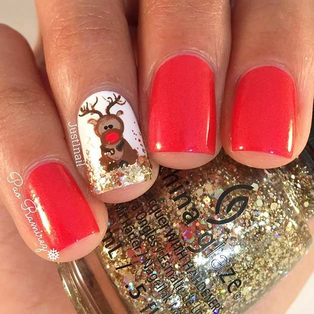 29 Easy Winter and Christmas Nail Ideas - Best 25+ Cute Red Nails Ideas On Pinterest Red And Silver Nails