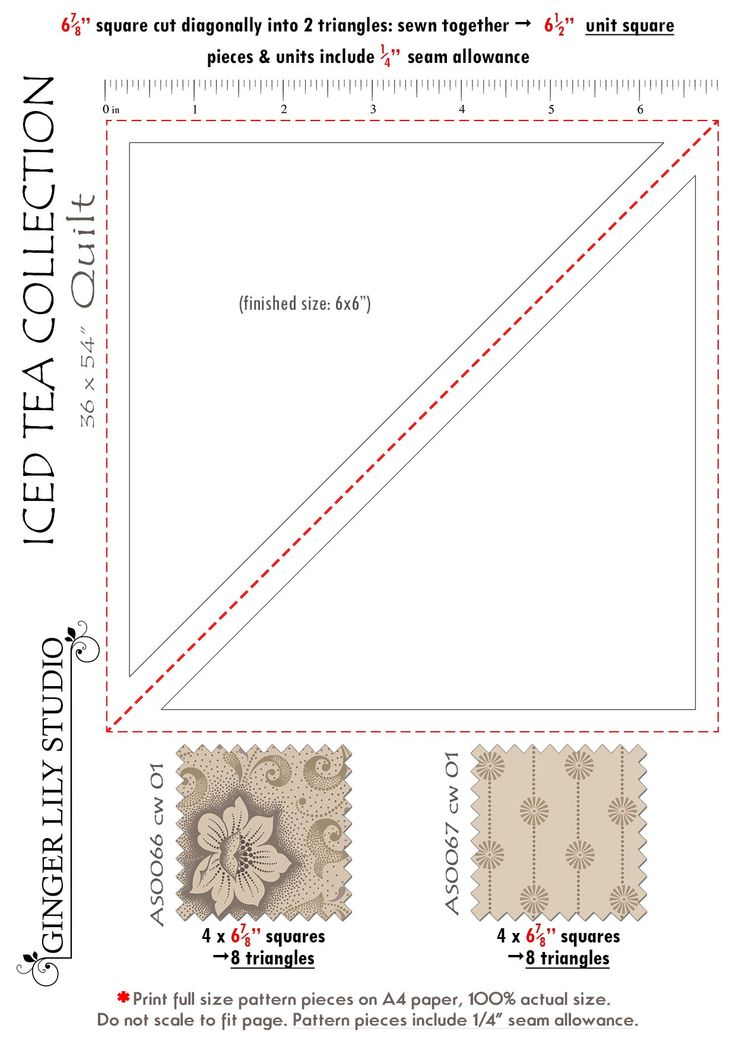 6 Iced Tea Collection Quilt pattern piece 3