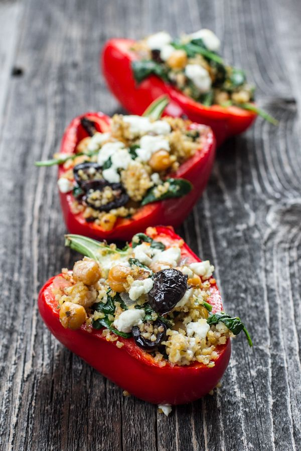 Greek Stuffed Peppers by edibleperspective: GF, vegan option. #Stuffed_Peppers