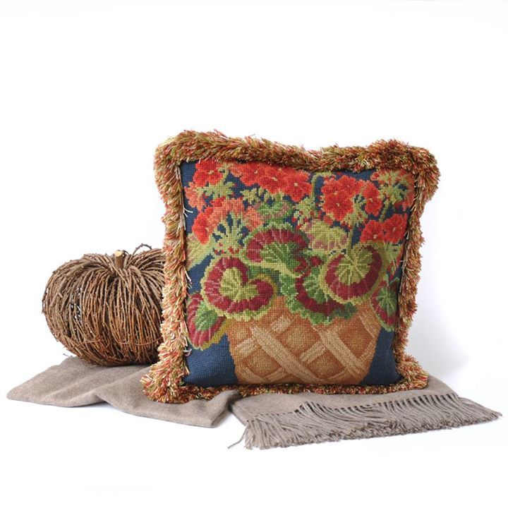 Perfect stitching project for Fall - Elizabeth Bradley Geranium Pot Needlepoint Kit