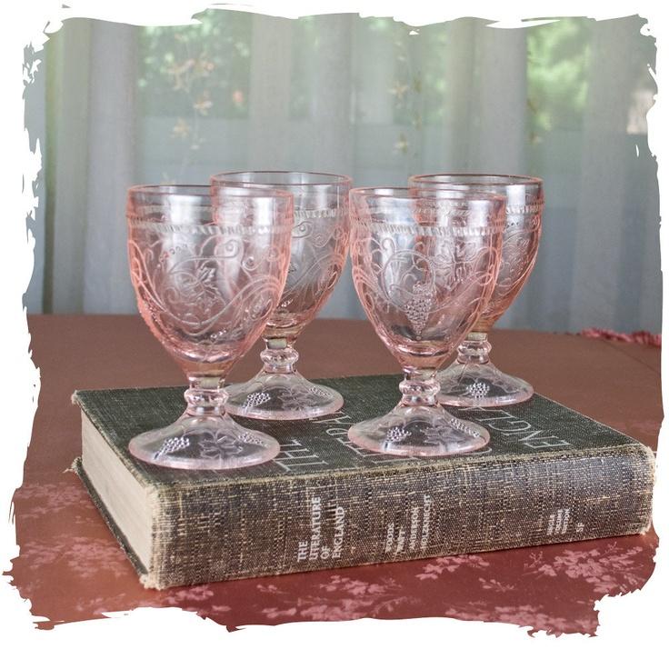 Vintage Depression Glass Set of Four Pink Depression Glasses. $38.00, via Etsy.