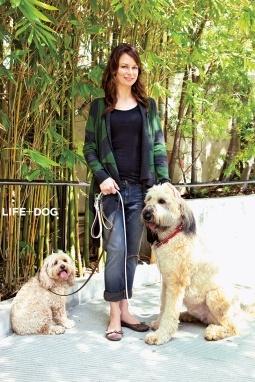 Mary Lynn Rajskub and her dogs.