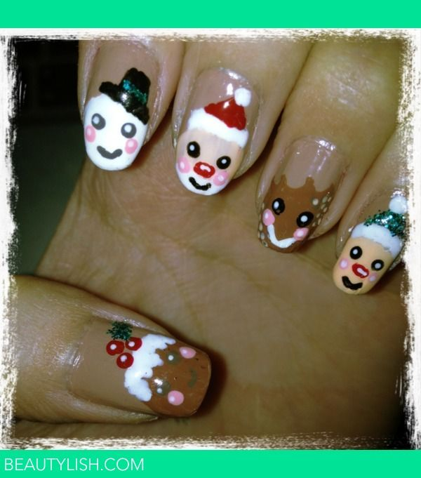 Christmas theme nails: Fingernail Paintings, Beautiful Christmas, Nails Makeup, Beautiful Nails, Funky Fingernail, Funky Nails, Christmas Nails Art, Holidays Nails, Fingers Nails