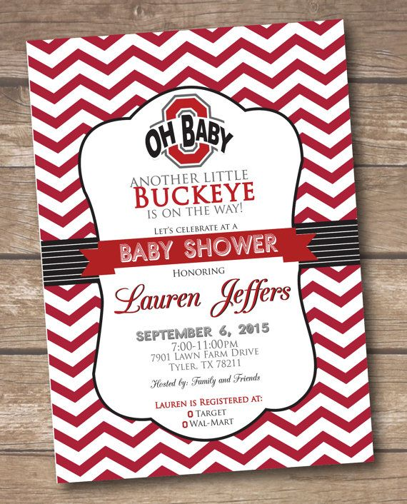 Ohio State Baby Shower Invitation - Buckeye Baby Shower - Printable
