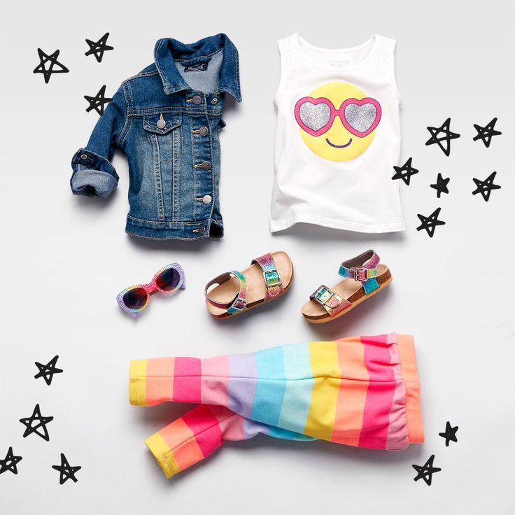 Toddler girls' fashion   Kids' clothes   Embellished graphic top   Embellished graphic top   Rainbow double-strap sandals   Rainbow sunglasses   Denim jacket   The Children's Place