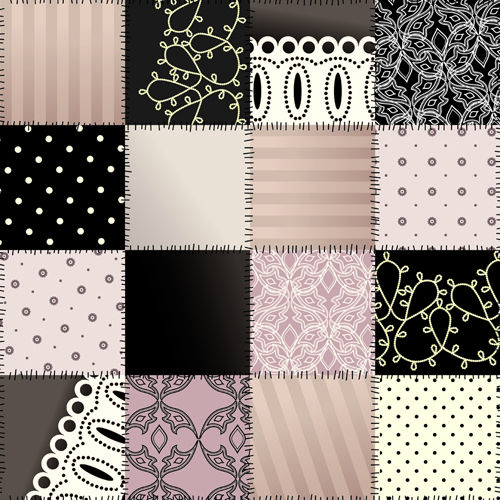 Set of Different Fabric patterns vector 02