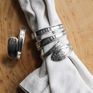 Silver Spoon Napkin Rings, Set of 4 - $24