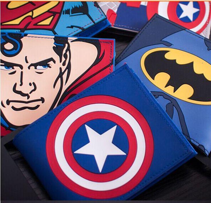 2017 Marvel Comics Superhero Wallet Captain America Batman Superman men's Purse portafoglio con fumetti uomo with Card Holder