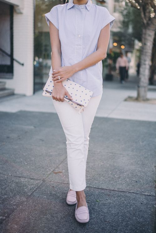 Gal Meets Glam Light Pink Loafers - J.Crew shirt and jeans, M.Gemi loafers, and Claire Vivier clutch
