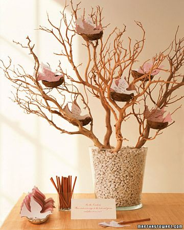 Cute Idea: Dove Note Tree  Let guests' well-wishes take flight on paper doves. These birds are traditional symbols of love, happiness, and harmony. Anchor bare branches (these are manzanita) in a large, sturdy vessel filled with stones or gravel. Use wire to secure nests, available from craft stores, to branches. Set dove cards -- available precut -- in a dish. Place pencils alongside your tree with a sign asking guests to inscribe a card and to place it in a nest.: Decor, Guest Books, Wedding Guest, Weddings, Funeral Ideas, Trees, Guestbook, Crafts Stores, Branches