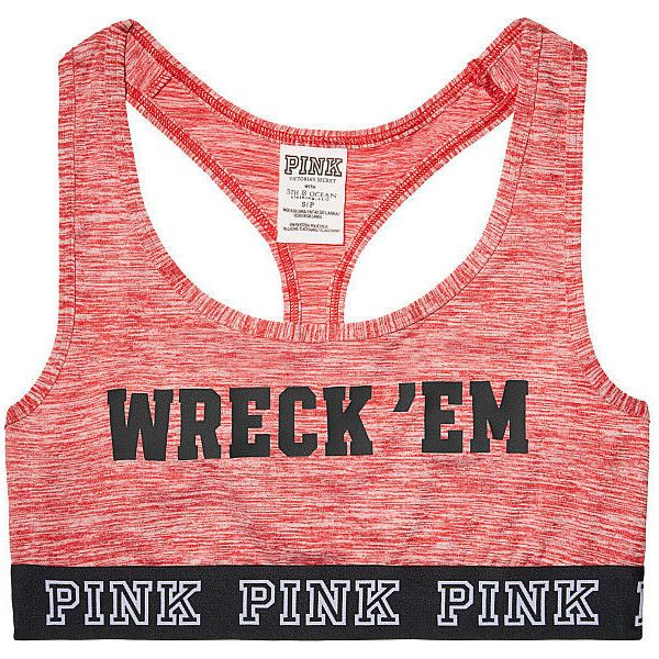 PINK Texas Tech University Logo Crop Bra ($25) ❤ liked on Polyvore featuring activewear, sports bras, white, white sports bra, pink sports bra, pink sportswear and logo sportswear
