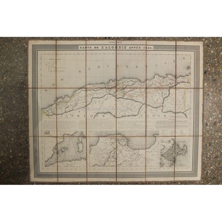 Carte géographique entoilée Algérie 1840 French vintage geographic map of Algeria, 1840
