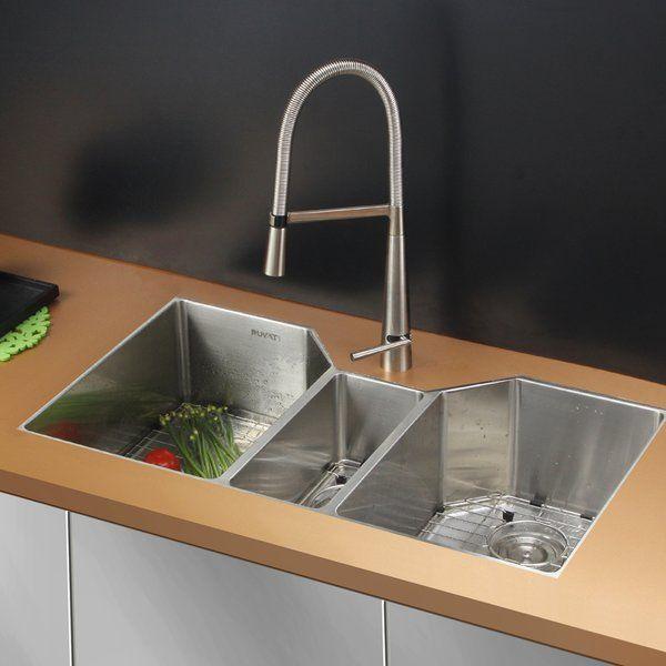 Gravena 35 L X 20 W Triple Bowl Dual Mount Kitchen Sink In 2021 Stainless Steel Kitchen Sink Sink Best Kitchen Sinks