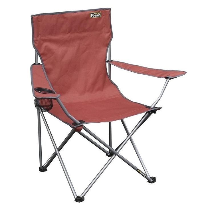 Folding Outdoor Camp Chair Set of 4 Four Portable Chairs With Cup Holder Red #QuikShade