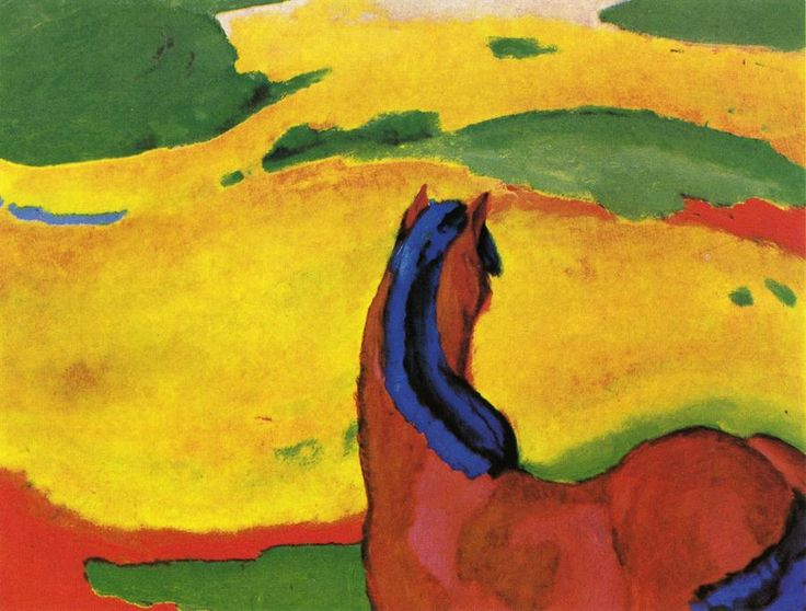 Horse in a landscape Artist: Franz Marc Completion Date: 1910 Style: Expressionism Genre: animal painting Technique: oil Material: canvas Dimensions: 112 x 85 cm