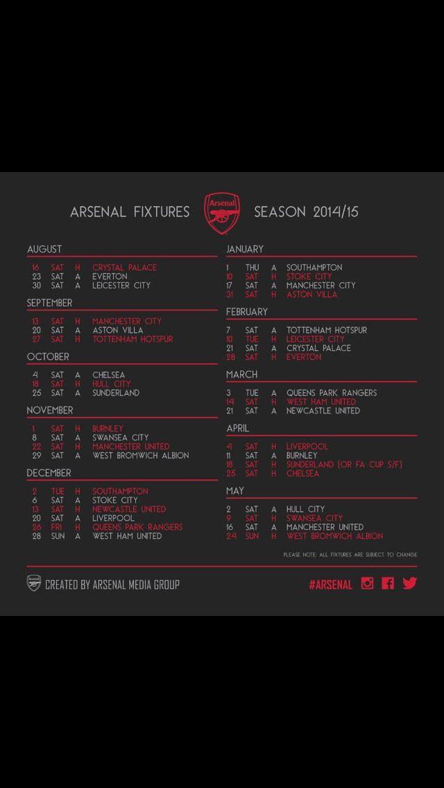 Arsenal fixture 2014/2015 infographic