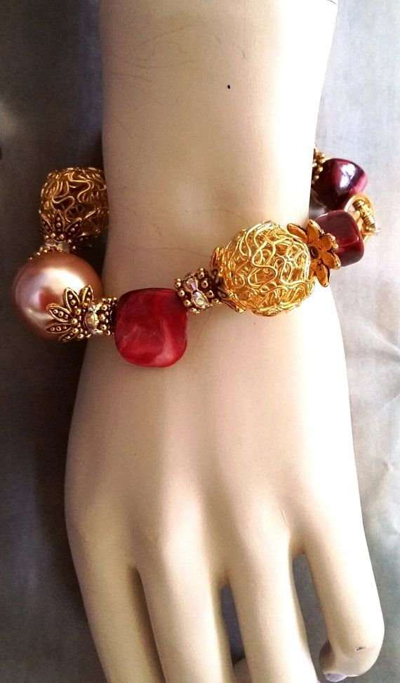 red natural sea shell and faux pearl beaded golden color by ISUS1