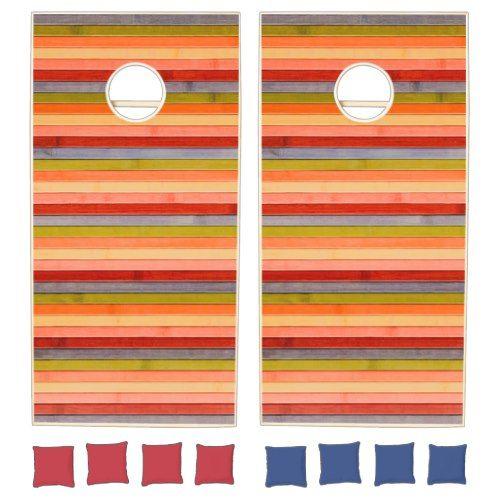 Painted Rainbow Wooden Beach Panel. Cornhole Set