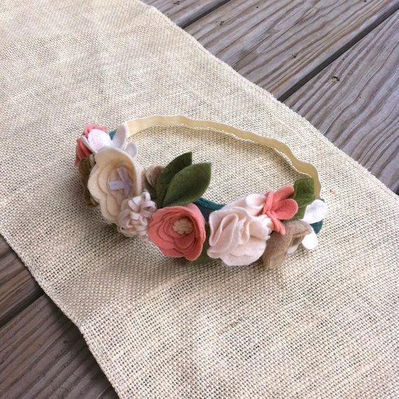 Felt Flower Crown // Natural Blush Oatmeal by fancyfreefinery, $23.50
