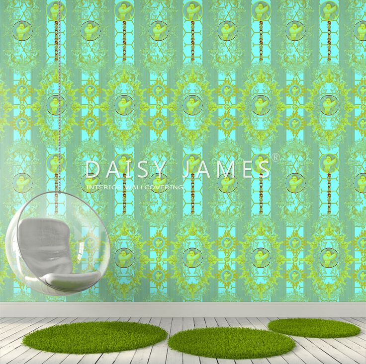 "DAISY JAMES wallcover ""The Green Medallion"" #interiordesign #Luxuryhouses #officedesign"