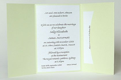 Wedding invite inserts. Use the pocket on the inside of this invitation to hold inserts such as the RSVP card, map or wishing well card. www.kardella.com
