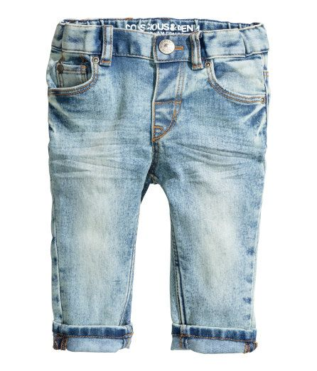 Check this out! CONSCIOUS. 5-pocket jeans in washed stretch denim. Adjustable elasticized waistband, fly with snap fastener, and slim legs. Cotton content is organic. - Visit hm.com to see more.