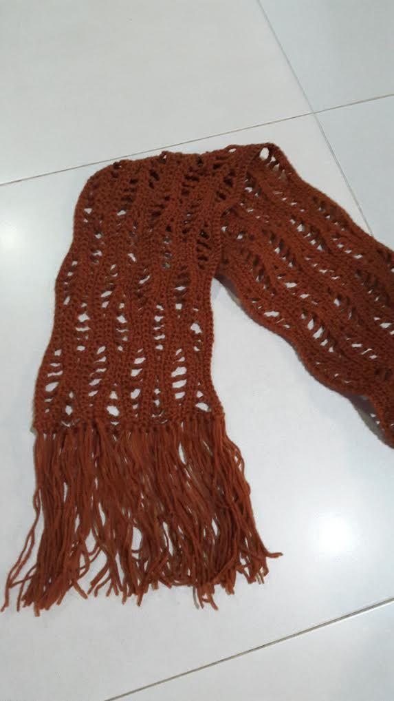 Pola Gratis Syal Scarf Crochet Lacy Wave Free Pattern