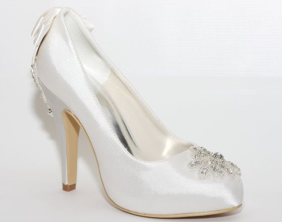 Bridal Satin Shoes   Charlotte Embellished by MademazzelCouturiers, $150.00