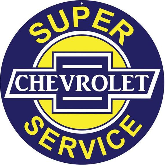 """Super Chevrolet Service Round Metal Tin Sign 12/""""  Garage Man Cave Embossed Chevy"""
