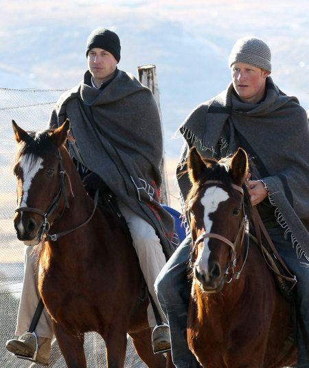 Prince Harry and Prince William ride horses as they arrive to visit  a child education centre on June 17, 2010 in Semonkong, Lesotho. The two Princes were on a joint trip to Africa which takes in Botswana, Lesotho and finally South Africa.