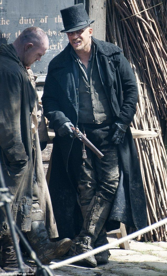 Dirty work: Tom Hardy was almost unrecognisable as filming continued for his new TV show Taboo in Cornwall on Wednesday morning