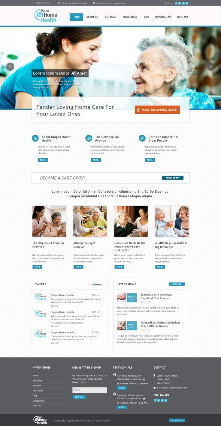 Stages home health website design.It's a responsive,mobile friendly & cms design