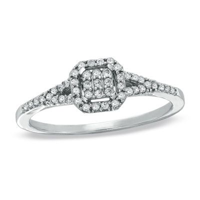 """1/5 CT. T.W. Composite Square Diamond Vintage Promise Ring..minus the fact its a """"promise"""" ring..its beautiful. I absolutely love Vintage style rings."""