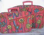 Vintage 1960's Floral Overnight Suitcase Set Mod Travel Bag Retro Groovy Boho Carry On Luggage Train Case Prop