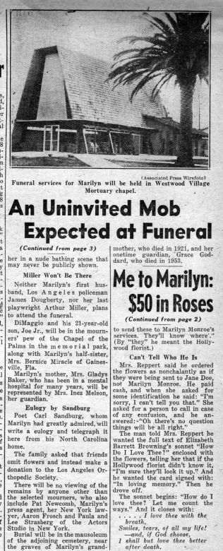 Daily News 8/08/1962 - Divine Marilyn Monroe
