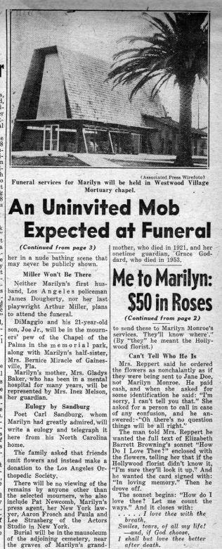 Daily News 8/08/1962 - Divine Marilyn Monroe